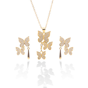 Butterfly Pendant Necklace and Earring Set - ARJW1017GD - ARCADIO LIFESTYLE