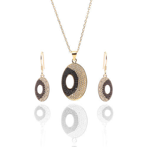 Juno Pendant Necklace and Earrings Set - ARJW1018GD - ARCADIO LIFESTYLE