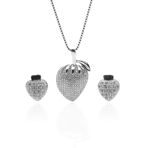Strawberry Fruit Pendant Necklace & Earring Set - ARJW1013RD - ARCADIO LIFESTYLE