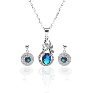 Designer Sapphire Necklace and Earrings Set - ARJW1008RD