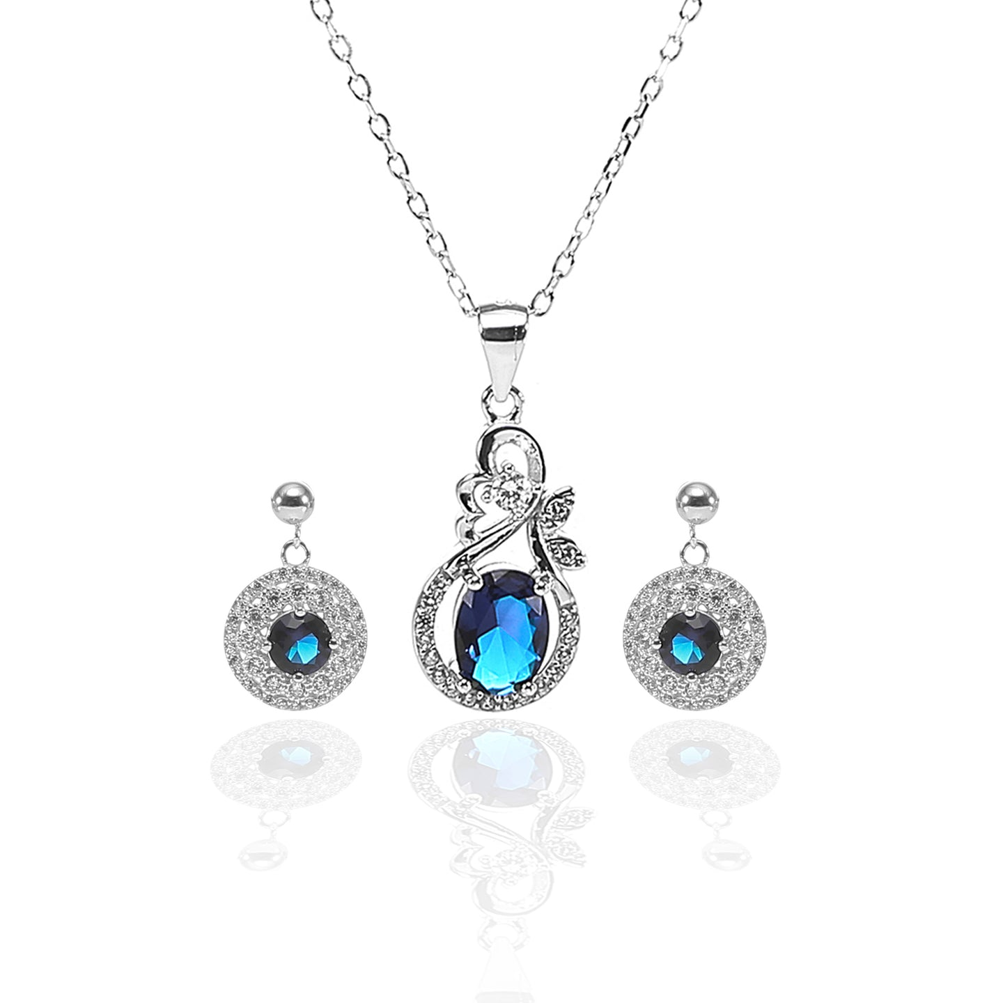 Designer Sapphire Necklace and Earrings Set - ARJW1008RD - ARCADIO LIFESTYLE