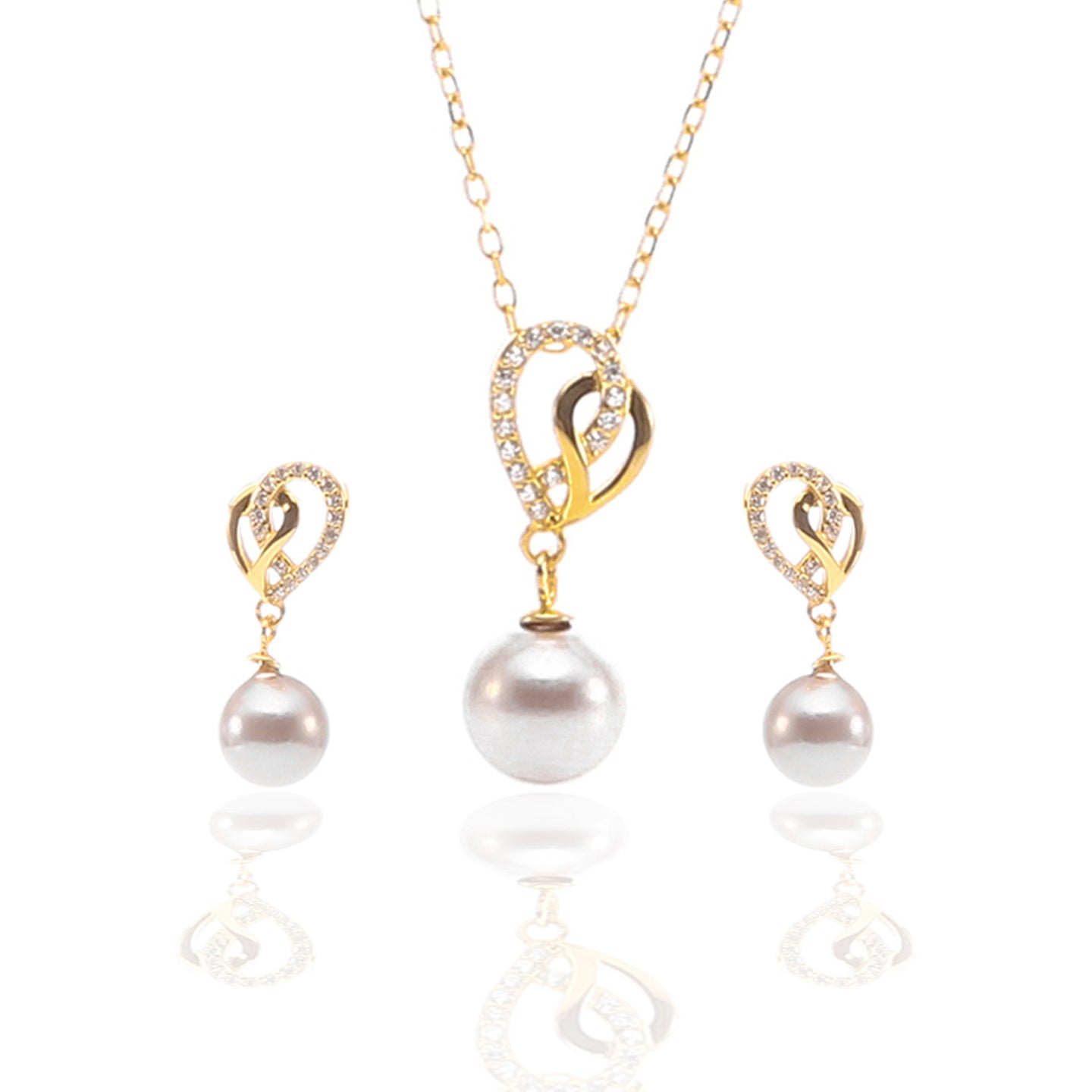 Open Heart Freshwater Hanging Pearl Pendant Necklace and Earrings Set - ARJW1026GD
