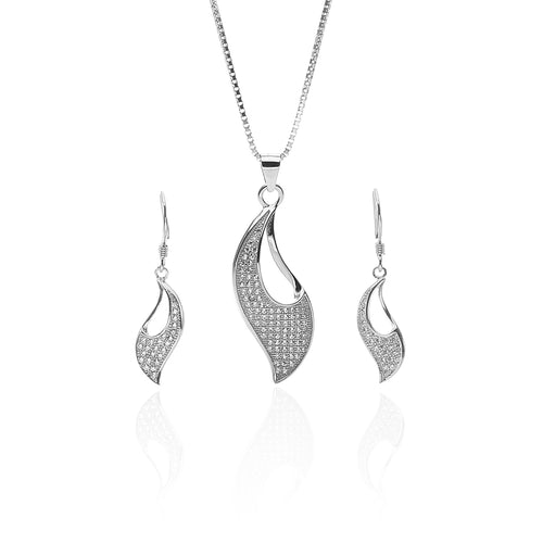 Aphrodite Designer Pendant Necklace and Earrings Set - ARJW1016RD - ARCADIO LIFESTYLE