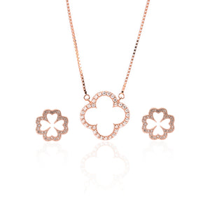 Sparkling Clover Pendant Necklace and Earrings Set - ARJW1022RG