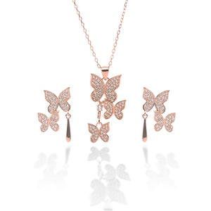 Butterfly Pendant Necklace and Earring Set - ARJW1017RG