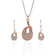 Venus Pendant Necklace and Earrings Set - ARJW1019RG - ARCADIO LIFESTYLE