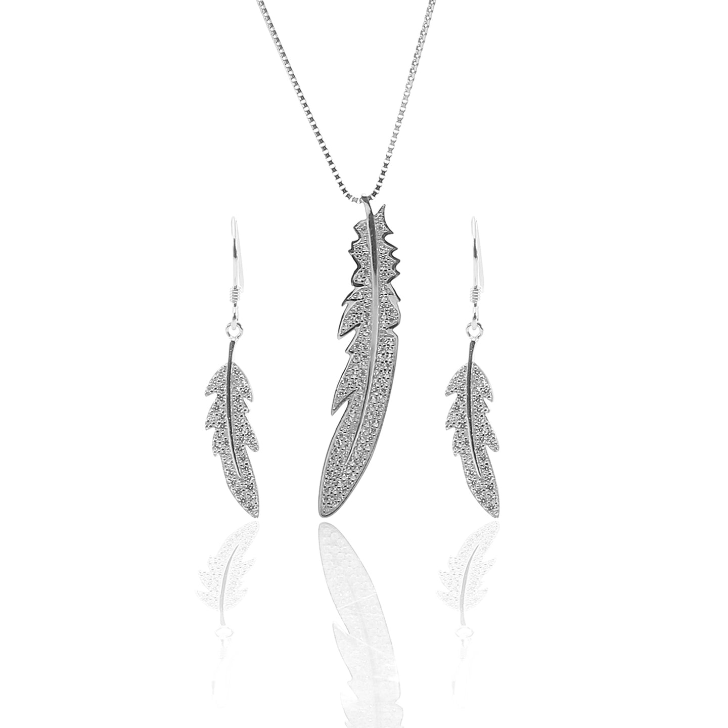 Feather Pendant Necklace and Earring Set - ARJW1015RD - ARCADIO LIFESTYLE
