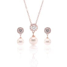 Pearl Teardrop Pendant Necklace and Earrings Set - ARJWR1027RG