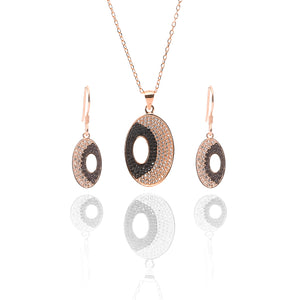 Juno Pendant Necklace and Earrings Set - ARJW1018RG