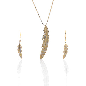 Feather Pendant Necklace and Earring Set - ARJW1015GD