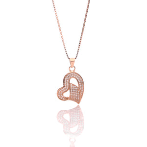Classic One Sided Bent Heart Shaped Pendant Necklace and Earrings Set - ARJW1014RG