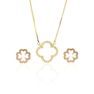 Sparkling Clover Pendant Necklace and Earrings Set - ARJW1022GD