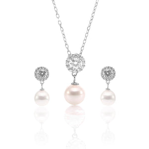 Pearl Teardrop Pendant Necklace and Earrings Set - ARJW1027RD