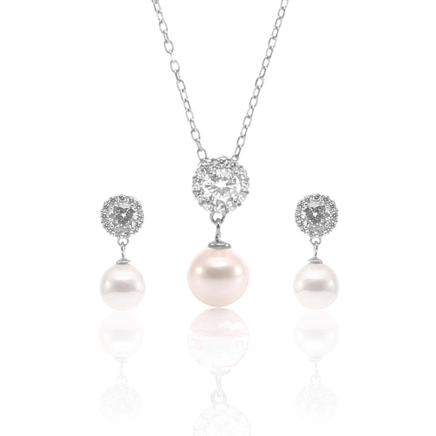 Pearl Teardrop Pendant Necklace and Earrings Set - ARJW1027RD - ARCADIO LIFESTYLE