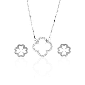 Sparkling Clover Pendant Necklace and Earrings Set - ARJW1022RD