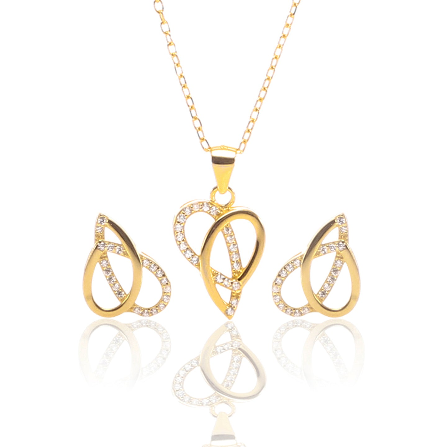 Ribbons of Love Pendant Necklace and Earrings Set - ARJW1007GD - ARCADIO LIFESTYLE