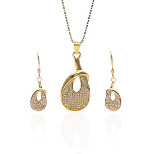 Venus Pendant Necklace and Earrings Set - ARJW1019GD
