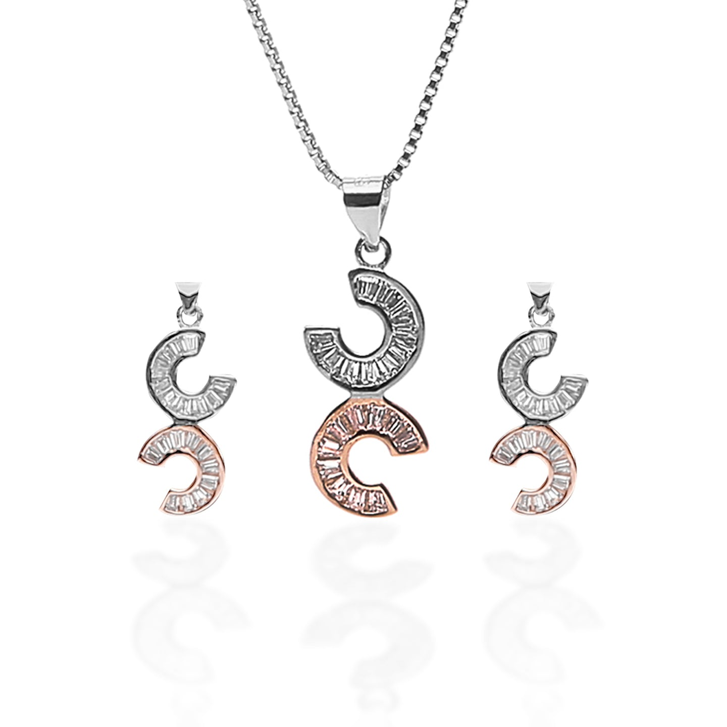 Celena Pendant Necklace and Earrings Set - ARJW1011RD - ARCADIO LIFESTYLE