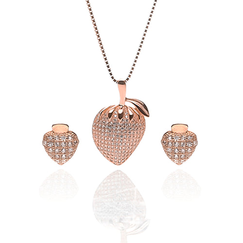 Strawberry Fruit Pendant Necklace and Earrings Set - ARJW1013RG - ARCADIO LIFESTYLE