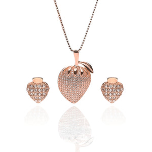 Strawberry Fruit Pendant Necklace and Earrings Set - ARJW1013RG