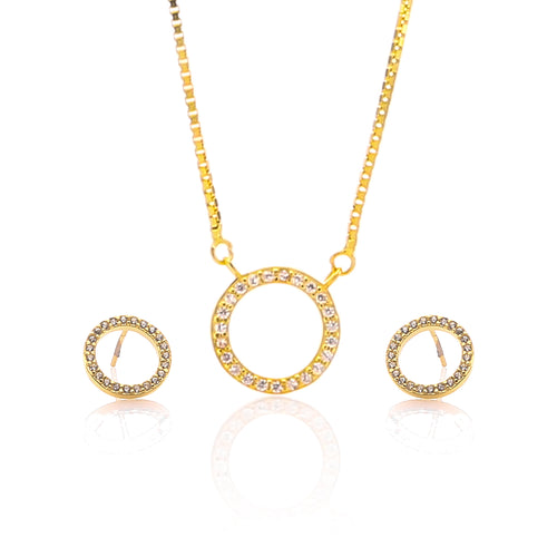 Circle of life Pendant Necklace and Earrings Set - ARJW1021GD - ARCADIO LIFESTYLE