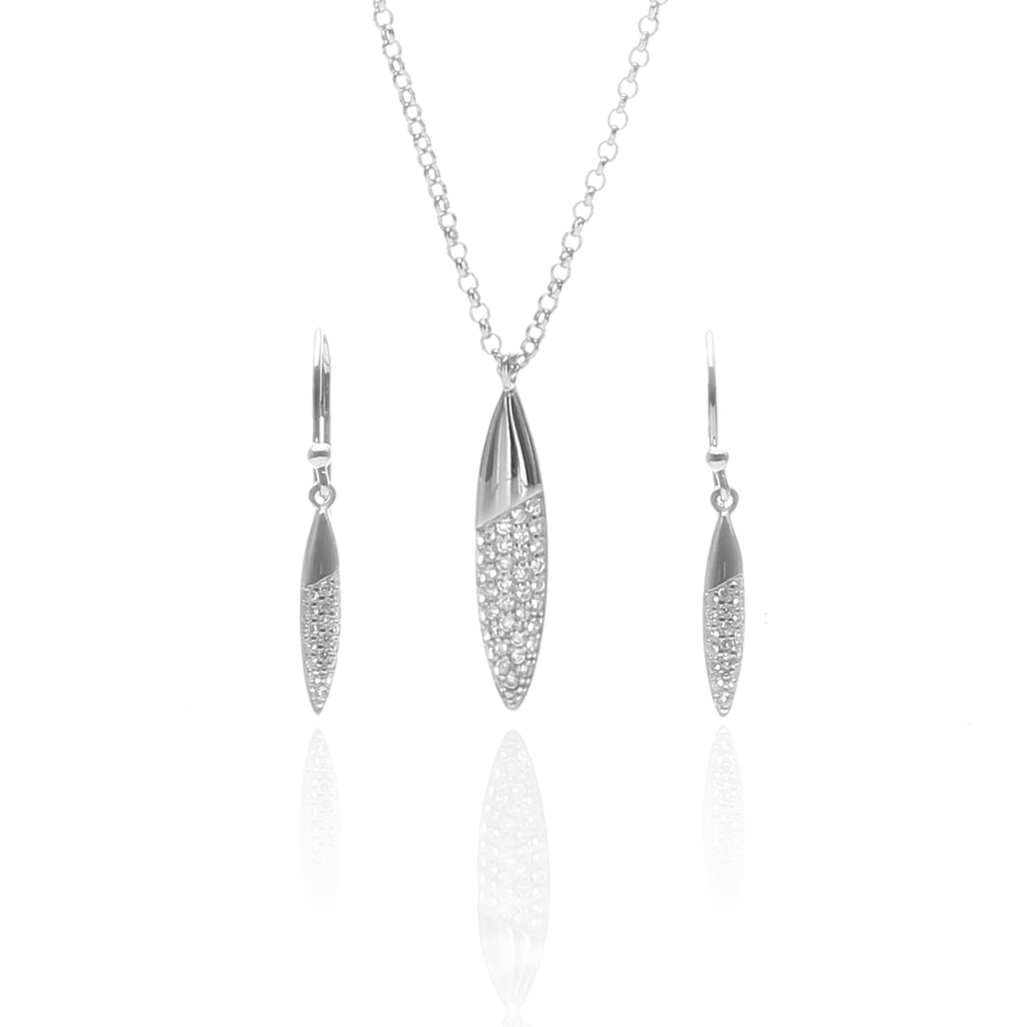 Edgware Pave Drop Pendant Necklace and Earrings Set - ARJW1028RD - ARCADIO LIFESTYLE