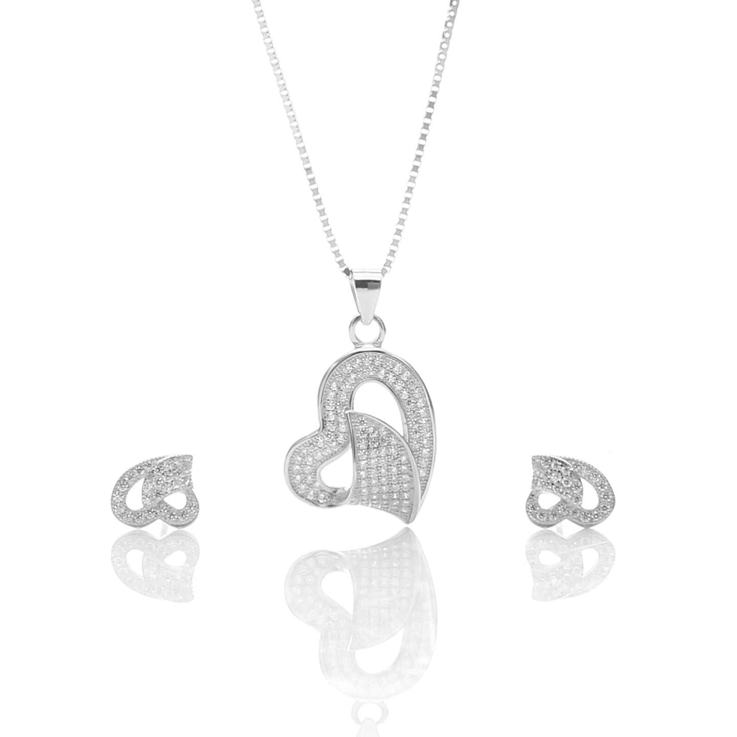 Classic One Sided Bent Heart Shaped Pendant Necklace and Earrings Set - ARJW1014RD - ARCADIO LIFESTYLE