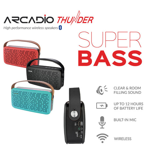 ARCADIO THUNDER - Portable Bluetooth Wireless Stereo Speaker for Mobile/Tablet/Laptop - Black