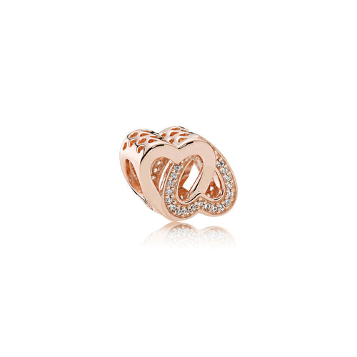 Entwined Love Charm - Rose Gold, Cubic Zirconia Gemstone - ARJWVC1046RG