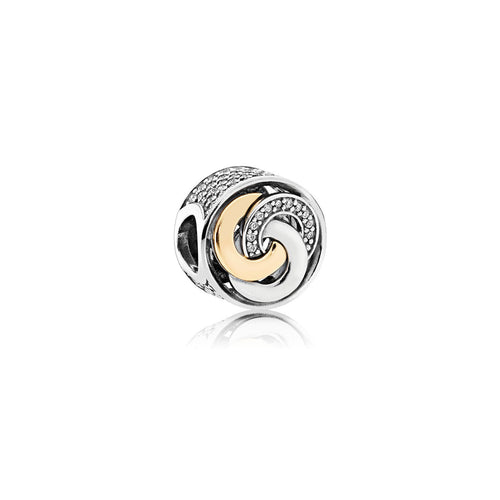 Interlinked Circles Charm - Sterling Silver, Cubic Zirconia Gemstone - ARJWVC1051RD
