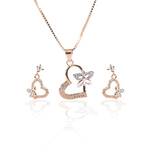 Valentine Heart with Fluttering Butterfly Pendant  and Earrings Set - ARJW1003RG