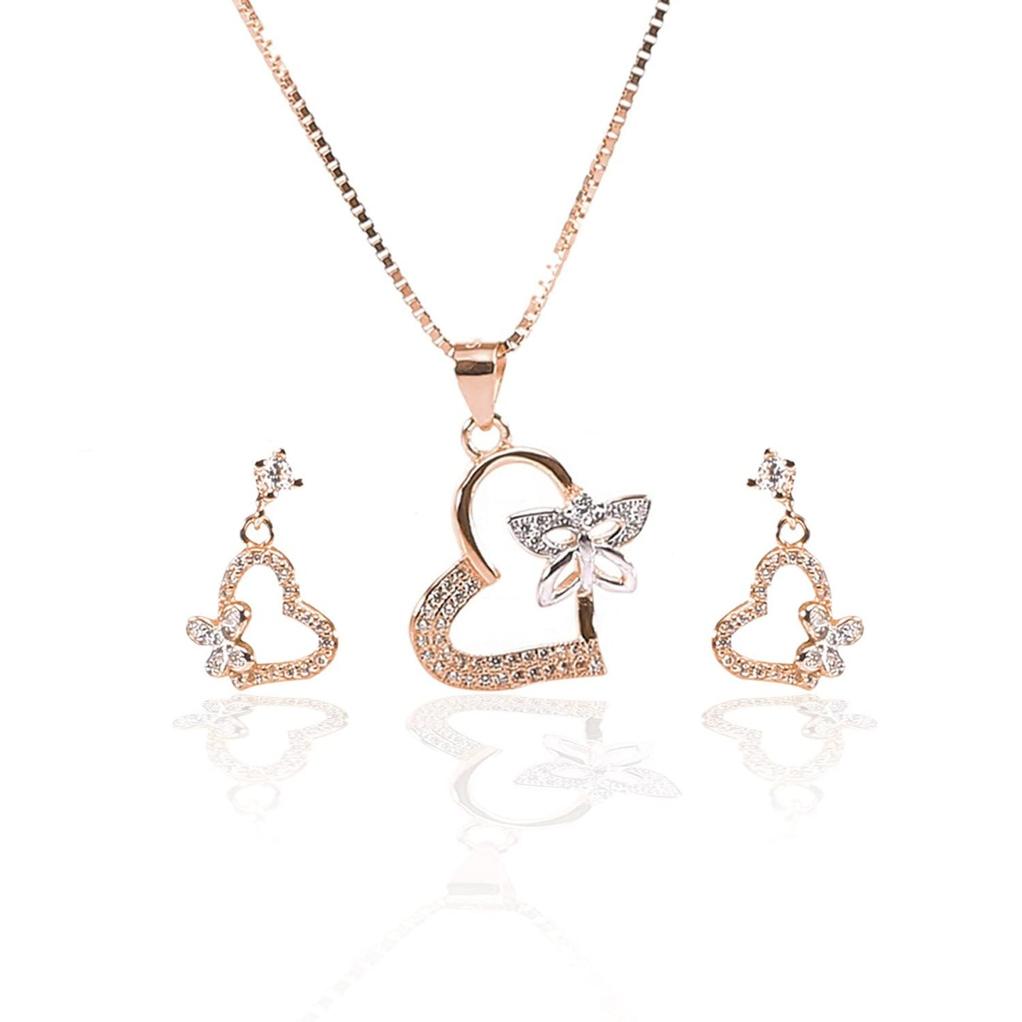 Valentine Heart with Fluttering Butterfly Pendant  and Earrings Set - ARJW1003RG - ARCADIO LIFESTYLE
