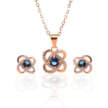 Four Leaf Clover Sapphire Pendant and Earrings Set - ARJW1005RG - ARCADIO LIFESTYLE