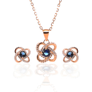 Four Leaf Clover Sapphire Pendant and Earrings Set - ARJW1005RG