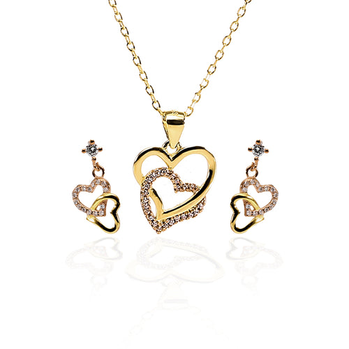 Forever Love Interlocked Heart Pendant Necklace and Earrings Set - ARJW1004GD