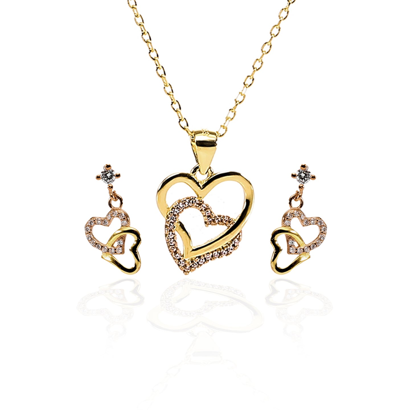 Forever Love Interlocked Heart Pendant Necklace and Earrings Set - ARJW1004GD - ARCADIO LIFESTYLE