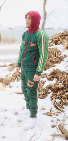 Green Striped Jogging Suit