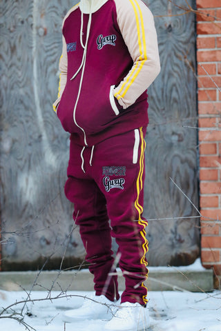 Maroon Striped Jogging Suit