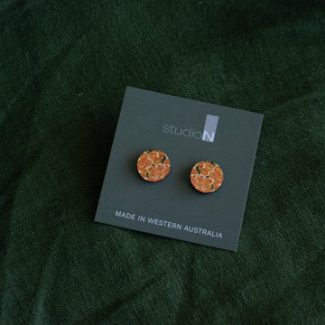 Wood Stud Earrings: Red Flowering Gum