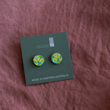 Wood Stud Earrings: Wattle