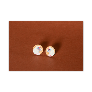 Open image in slideshow, Wood Stud Earrings: Corella