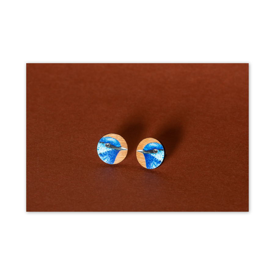 Wood Stud Earrings: Blue Fairy Wren