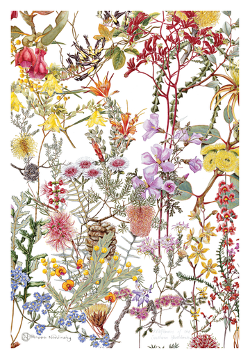 Southern Heathland Wildflowers Linen Tea Towel