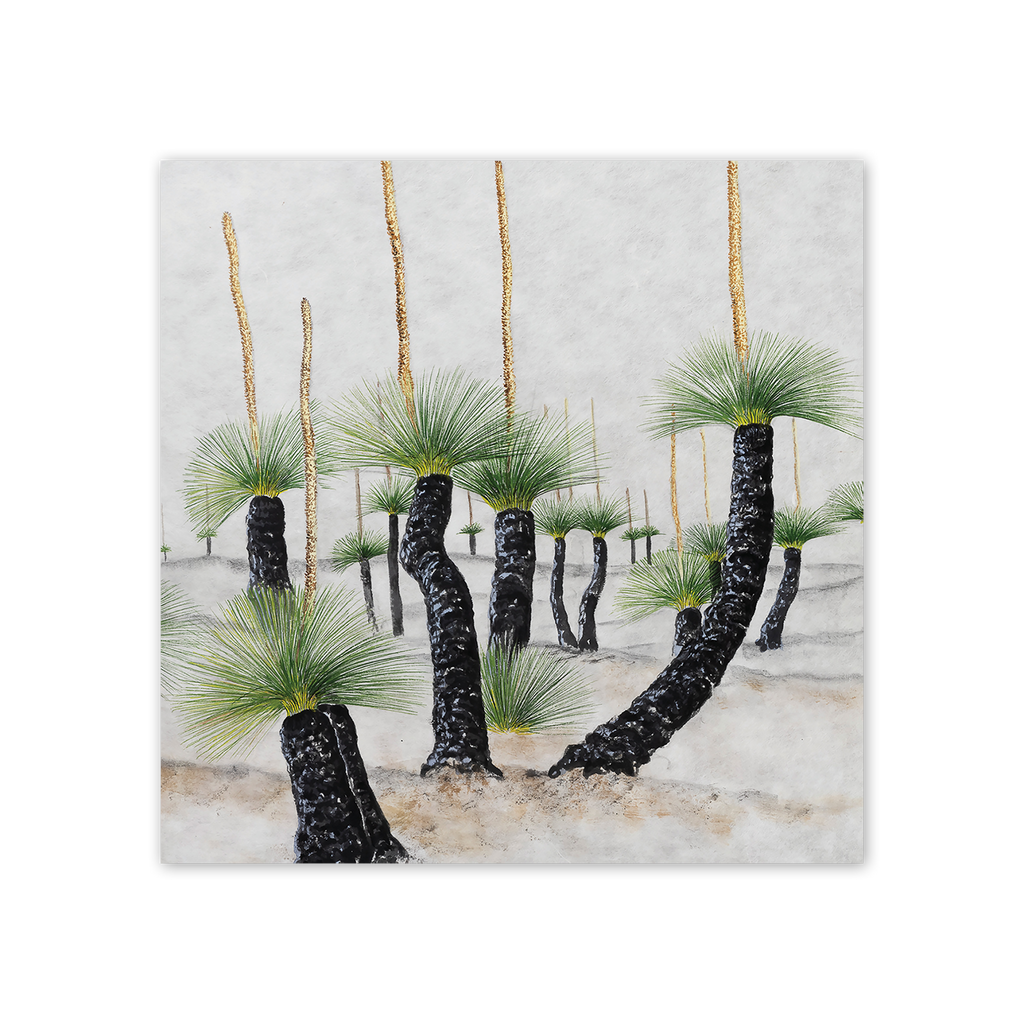 Desert Grasstrees Square Card Art Card painted by Philippa Nikulinsky - studio Nikulinsky