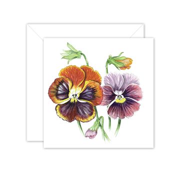 Square Card: Maria's Garden - Pansies