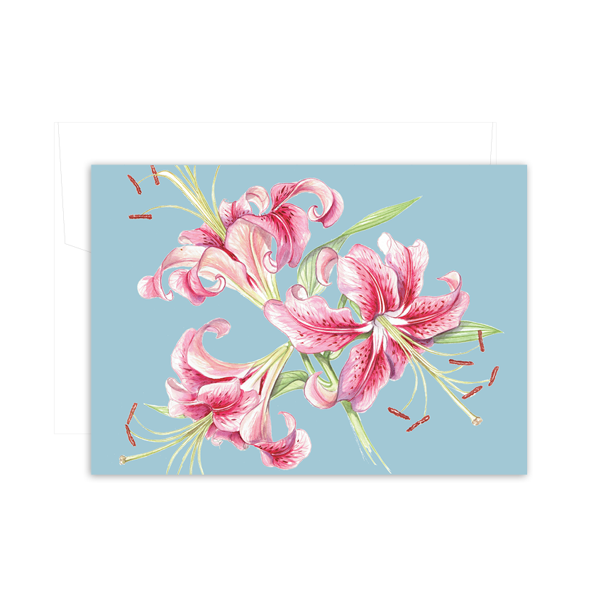 A6 Card: Maria's Garden - Pink Tiger Lily