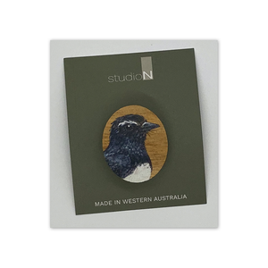 Open image in slideshow, Wood Brooch: Willie Wagtail