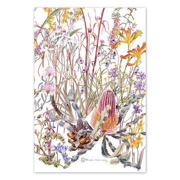 Swan Coastal Plain Wildflowers Linen Tea Towel