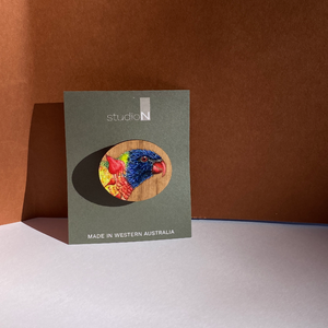 Open image in slideshow, Wood Brooch: Rainbow Lorikeet