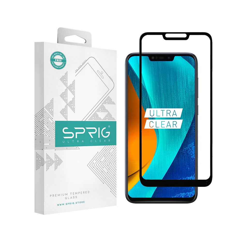 Sprig Full cover Tempered Glass/Screen Protector for Asus Max M2 (Black) - Sprig
